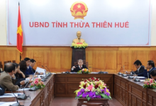 Chairman of the Provincial People's Committee Phan Ngoc Tho chairs the working session