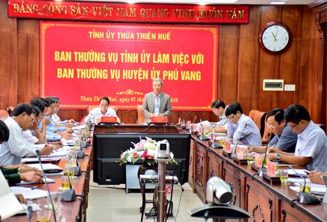 Bí thư Tỉnh ủy Lê Trường Lưu phát biểu tại buổi làm việc