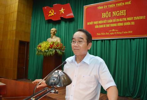 Phó Bí thư Thường trực Tỉnh ủy Bùi Thanh Hà phát biểu tại hội nghị