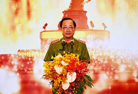 Thượng tướng Nguyễn Văn Thành, Ủy viên Trung ương Đảng, Thứ trưởng Bộ Công an phát biểu khai mạc
