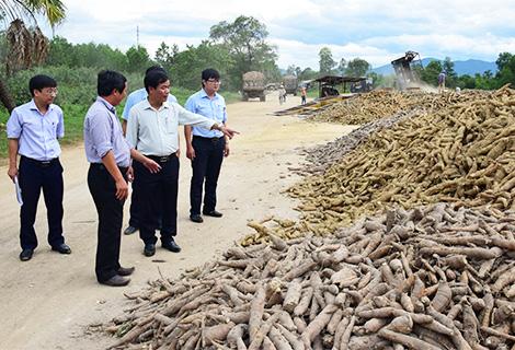 Phó Chủ tịch UBND tỉnh Nguyễn Văn Phương (áo trắng) kiểm tra kho nguyên liệu nhà máy
