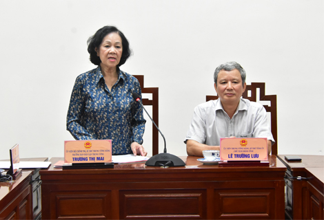 Trưởng ban Dân vận Trung ương Trương Thị Mai phát biểu tại buổi làm việc