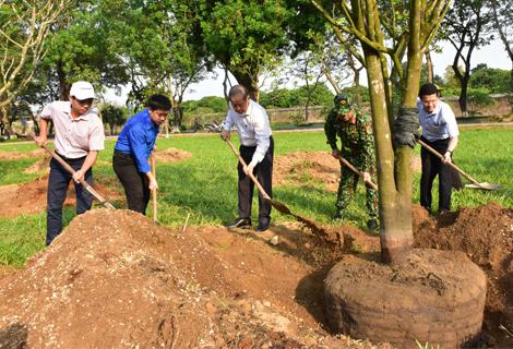 Chủ tịch UBND tỉnh Phan Ngọc Thọ tham gia trồng đường mai trước Đại nội
