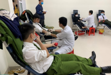 "Youths and locals join in the voluntary blood donation day called ""Red Sunday"""