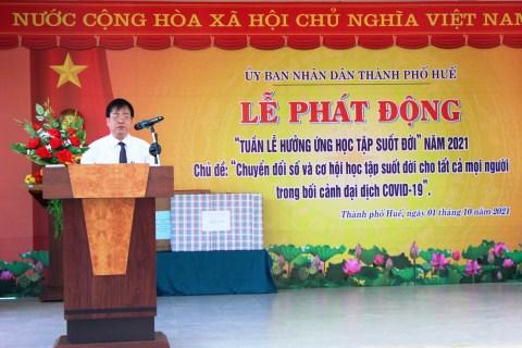 Phó Chủ tịch UBND thành phố Huế Trương Đình Hạnh phát biểu tại Lễ phát động