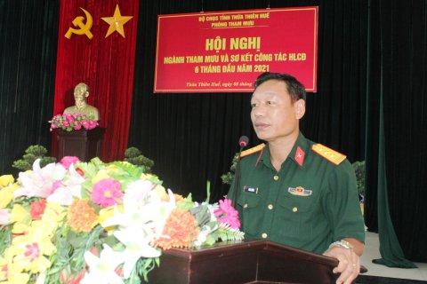 Thượng tá Phan Thắng – Phó Chỉ huy trưởng, Tham mưu trưởng Bộ CHQS tỉnh phát biểu chỉ đạo tại hội nghị